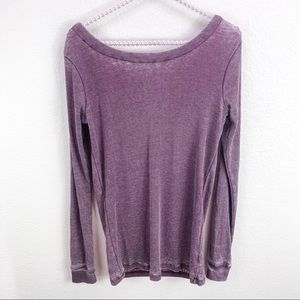 Chaser Purple Ribbed Cowl Back Long Sleeve Top